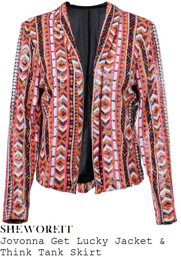 lauren-pope-orange-black-pik-white-sequin-embellished-aztec-blazer-jacket-and-pencil-skirt-co-ords
