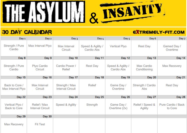 Insanity Asylum Calendar Zona fitness: insanity workout layouts...