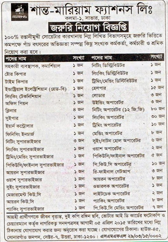 All Newspaper Jobs Santo Moriom Fashion Limited Position