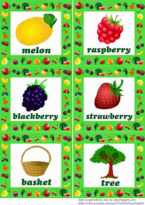 fruit flashcards with words