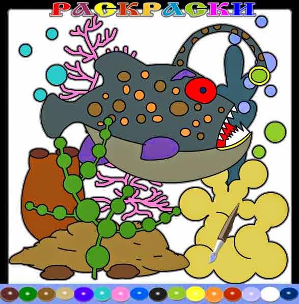 Раскраска - Рыба черт.