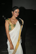Actress Nivitha Glamorous photos in Saree-thumbnail-15