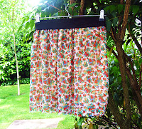 Summer skirt, DIY, fashion, chiffon, flower print, easy , tutorial