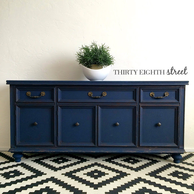 refinished hutch, refinished buffet, diy, peacoat, painted furniture, how to paint furniture, before and after, how to add legs to furniture, thirty eighth street