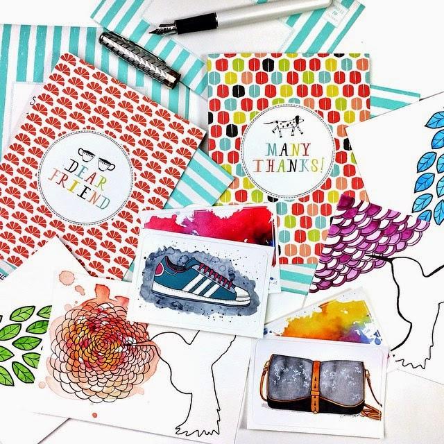 Mail Art in watercolor by Jessica Mack aka BrownPaperBunny
