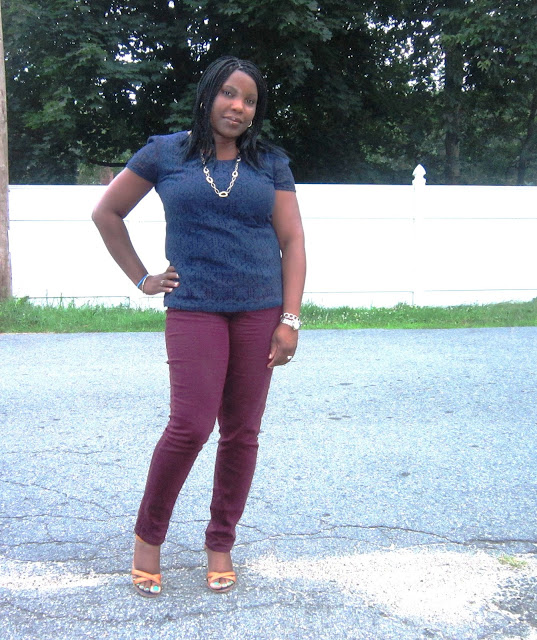 Skinny jeans,Burgundy,Lace top, Navy blue, coach coretta wedges