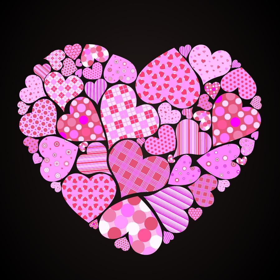 可愛いハートのバレンタインデー素材 4 Vector Heart lovely valentine day elements イラスト素材3