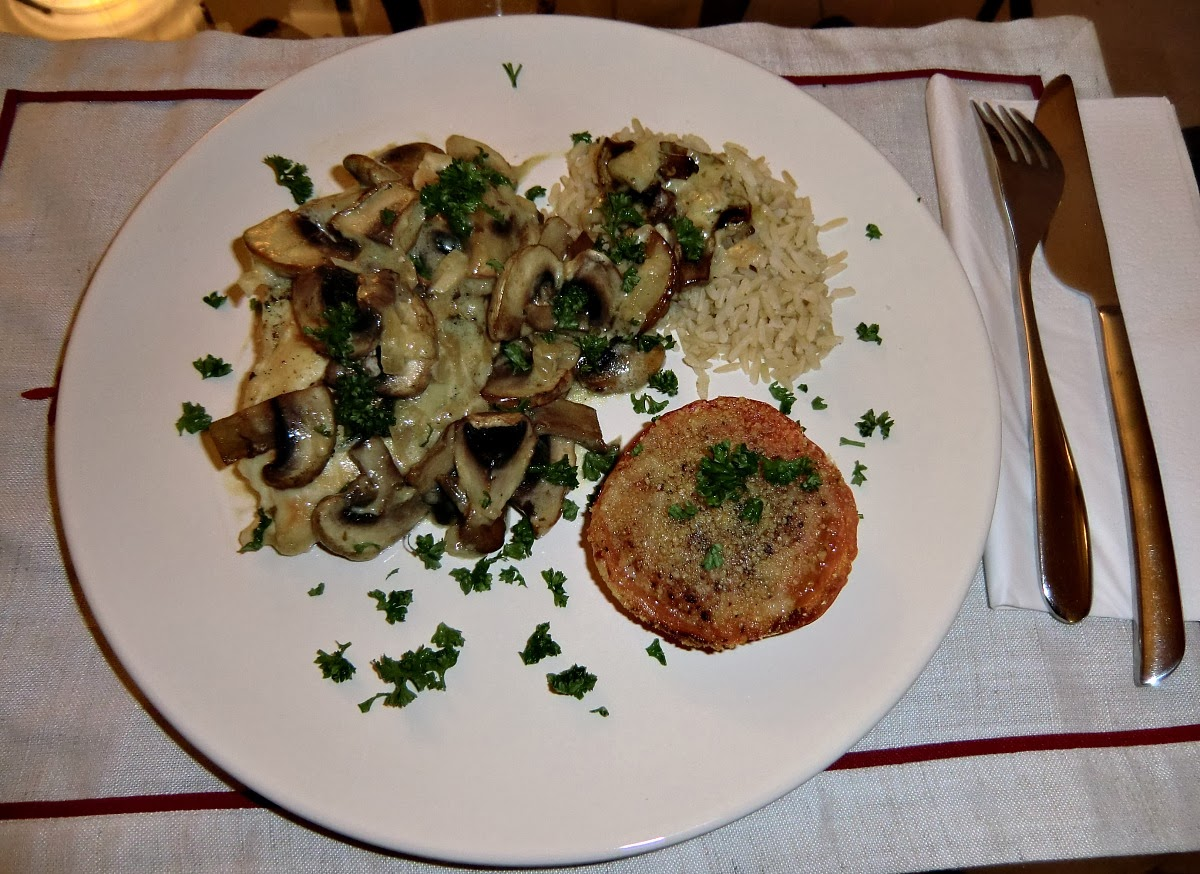 Basil stuffed chicken with mushrooms