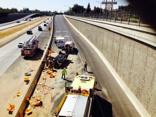 tulare county visalia car crash overturned vehicle accident highway 198 demaree