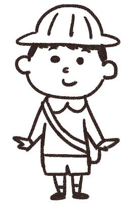幼稚園生の男の子のイラスト 白黒線画