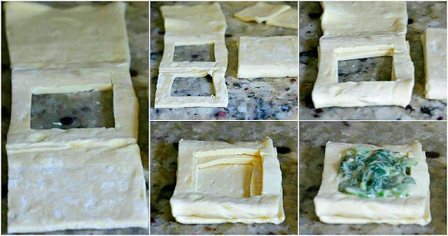 puff pastry with spinach and scallions in alfredo sauce step by step instructions