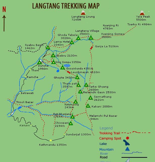 Langtang Area trekking Map
