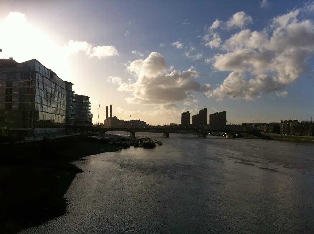 Crossing the Albert Bridge, looking towards Lots Power Station