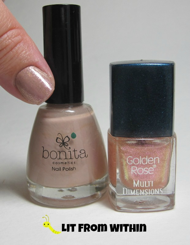 Bottle shot:  Bonita nameless nude and Golden Rose Multi Dimensions #6