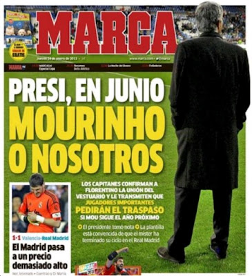 "MARCA cover with the words ""President, in June, Mourinho or we"""