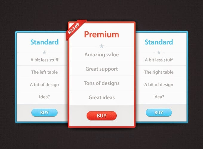 Modern Pricing Table PSD