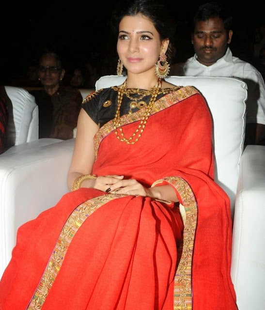 Samantha Ruth Prabhu in a Desigher Red Saree with Lace Border Gold Ornaments at SO Satyamurthy Audio Launch