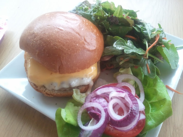Burger and salad from the Apple Cafe in Cupertino, CA