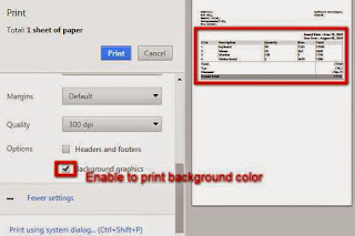 Print background color in chrome print option
