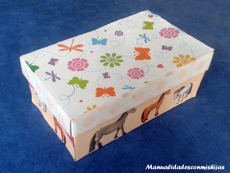 Manualidades con mis hijas caja de zapatos decorada - Manualidades cajas decoradas ...