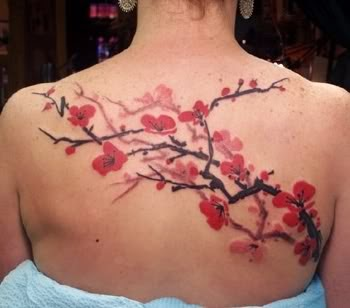 Girls Cherry Blossom Back Tattoo Desingns