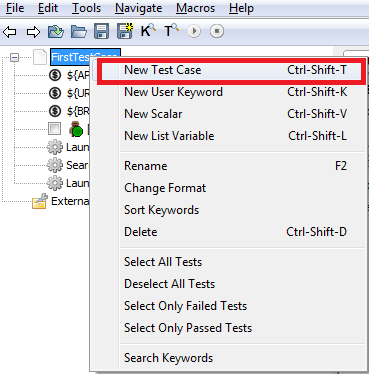 Adding new test case in RIDE