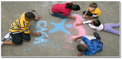 Children drawing colorful pictures with chalk, including the CASA logo.