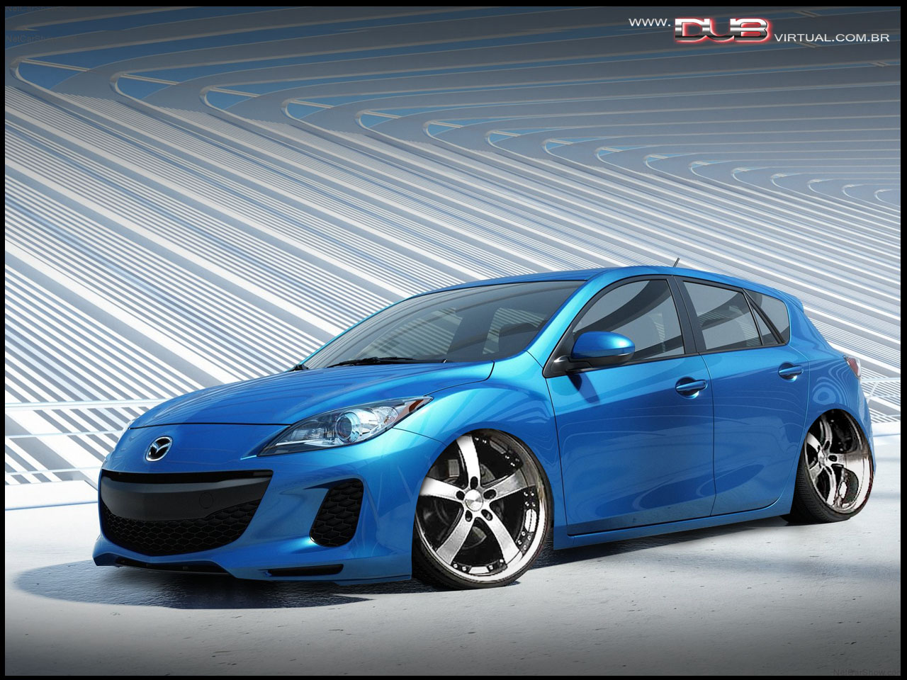 Novo Mazda 3 tuning e rebaixado