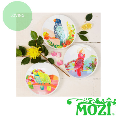 I\u0027m quite taken with these Australian parrot plates in outdoor-friendly melamine from MOZI. Choose from three cheeky designs to brighten up any picnic or ...  sc 1 st  Bondville & Bondville: Loving: MOZI parrot melamine plates