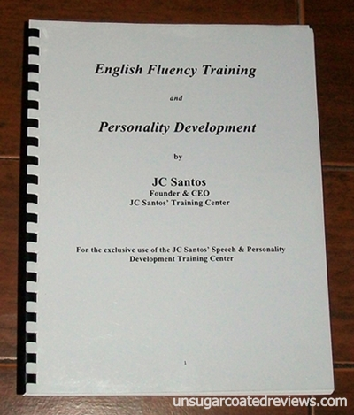 English Fluency Training and Personality Training workbook by JC Santos