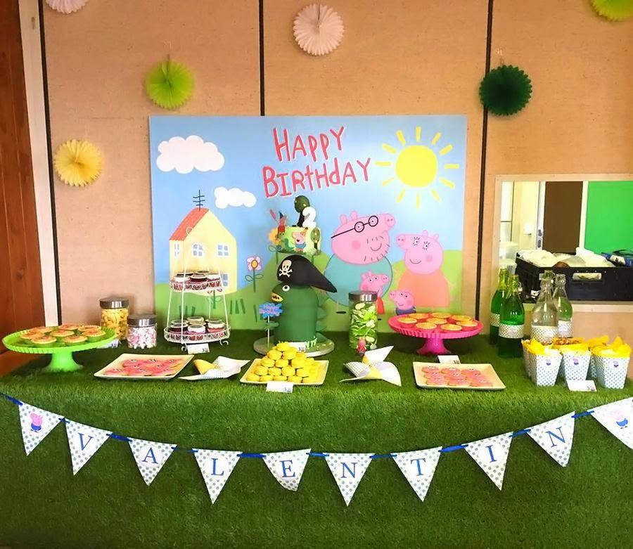 table verte, décoration, anniversaire peppa pig