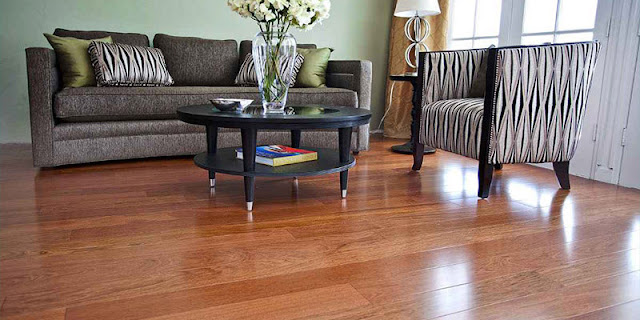 Beautiful hardwood flooring in modern style living room