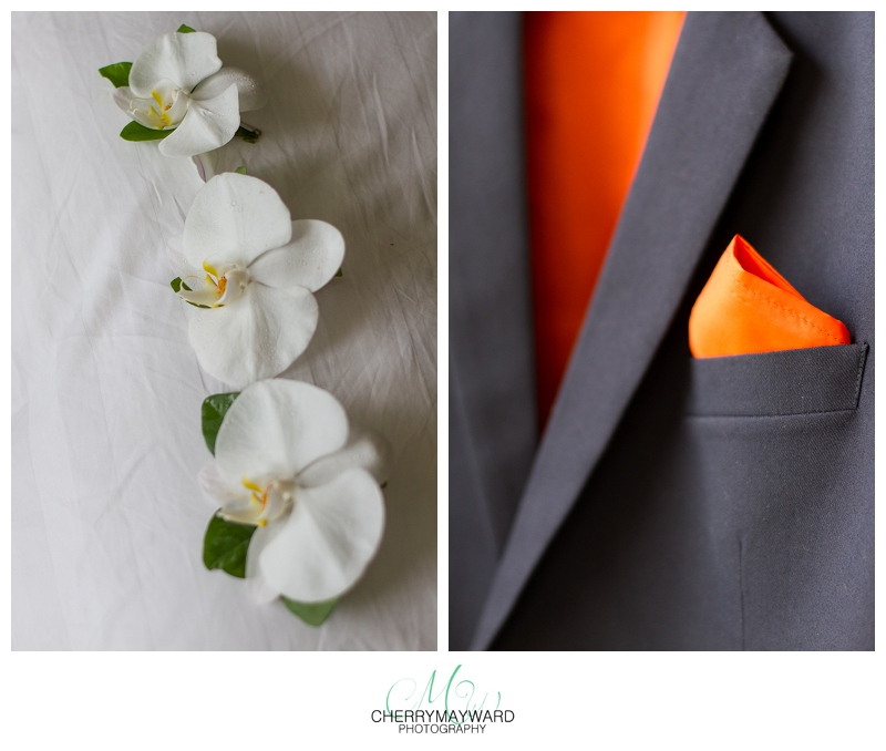 boutainnaires, buttonholes, groom's suit jacket, tailor made suit, navy and orange, Koh Samui Wedding