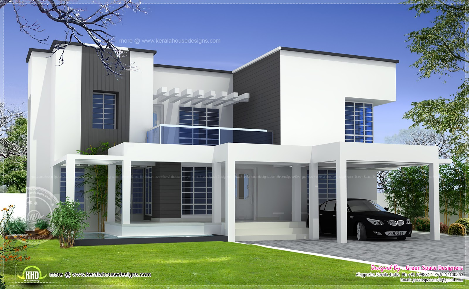 Vastu based box type modern home design kerala home for Square house design