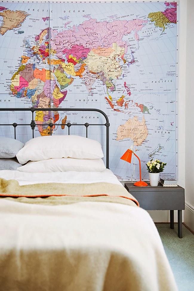 home garden 50 id es pour utiliser des cartes g ographiques dans sa d co. Black Bedroom Furniture Sets. Home Design Ideas