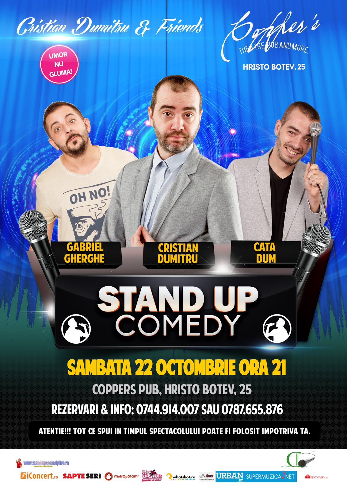 Stand-Up Comedy Sambata 22 Octombrie Bucuresti