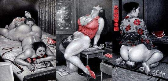 images of dominant women with curves byjapanese femdom artist namio harukawa, facesitting and smothering