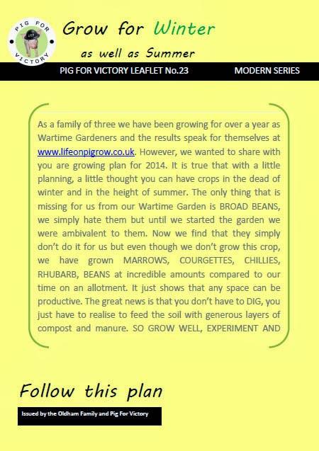 Follow our cropping plan www.lifeonpigrow.co.uk