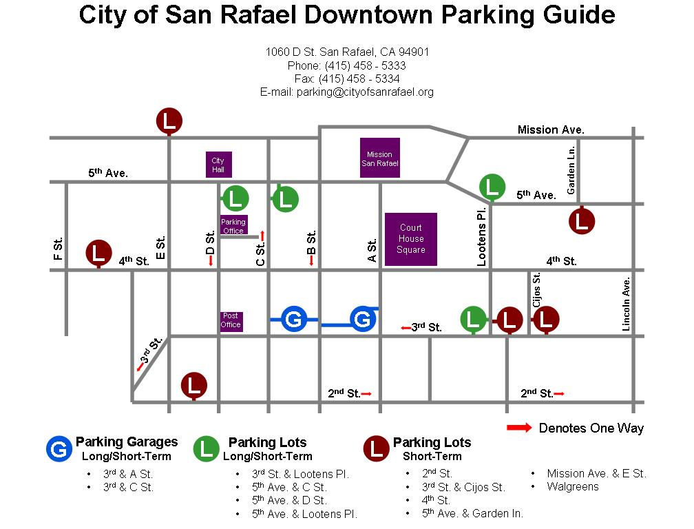 San Rafael California San Rafael Map Of Downtown Parking