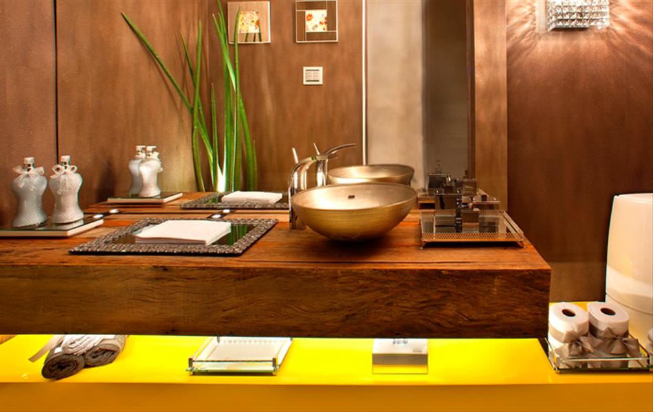 Decoração 30 cubas e bancadas de banheiro para inspirar!  Cores da Casa -> Cuba Para Banheiro Amarela
