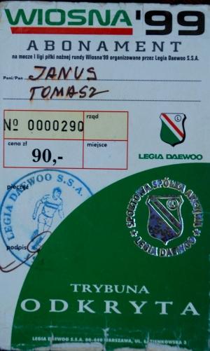 Abonament na mecze Legii wiosna 1999 r. - fot Tomasz Janus / sportnaukowo.pl