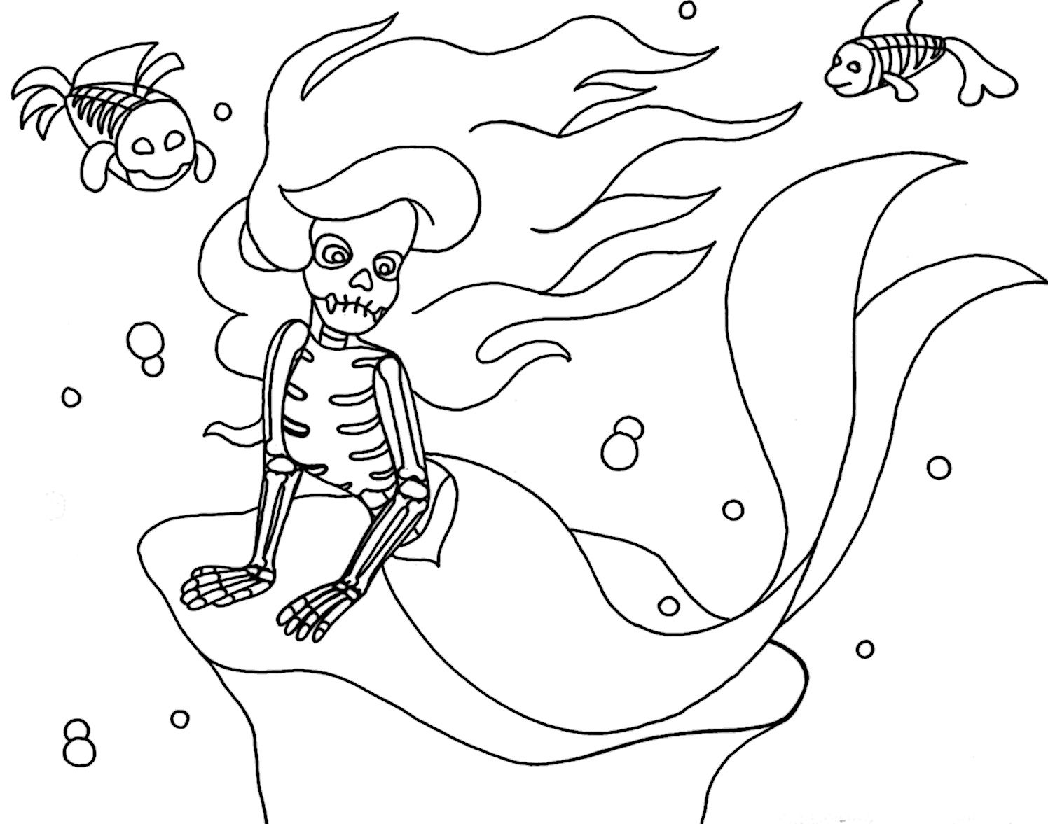 wenchkins coloring pages my little skeletal mermaid and friends