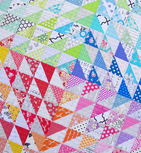 A Rainbow Half Square Triangle Quilt - Red Pepper Quilts