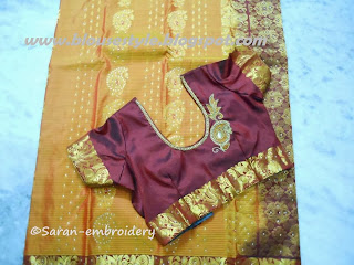 round neck silk embroidery blouse