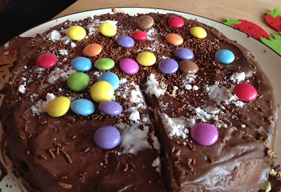 Chocolate cake made with marie biscuits and smarties