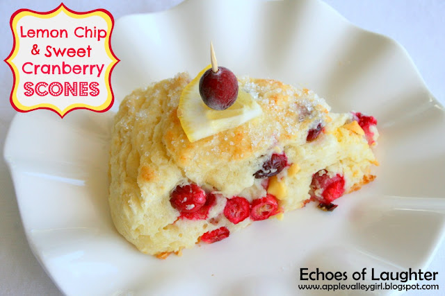 Echoes of Laughter: Luscious Lemon Chip & Sweet Cranberry Scones