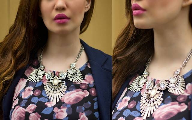 Forever New Statement Necklace , Pink Lips