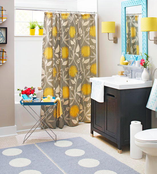 Colorful bathrooms 2013 decorating ideas color schemes for Bathroom decor yellow and gray