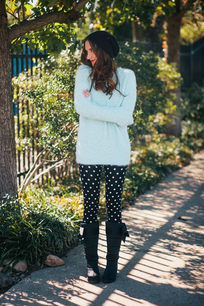 fuzzy sweater, polka dot pants, polka dot leggings, free people beanie, black beanie, black winter hat, kate spade boots, snow boots, boots with bow, maternity blog, maternity fashion, nashville blogger, fashion blogger
