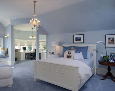 blue master bedroom in pacific heights luxury mansion home in san francisco
